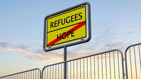 welcome to: efugees Hope Sign behind metal fence Stock Photo
