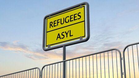 humane: efugees asylum behind metal fence Sign