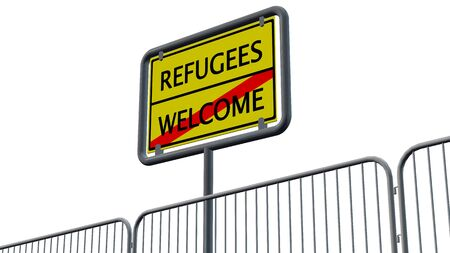 immigrant: Refugees Welcome Sign behind metal fence - isolated Stock Photo