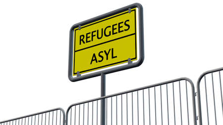 immigrant: Refugees Asylum Sign behind metal fence - isolated