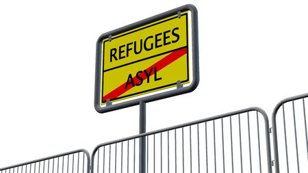refugees: Refugees Asylum Sign behind metal fence - isolated