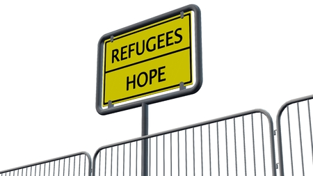 international crisis: Refugees Hope Sign behind metal fence - isolated