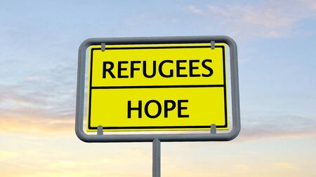 refugees: Refugees Hope sign