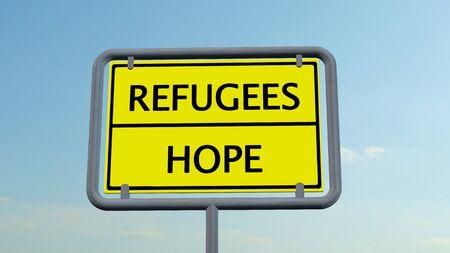 humane: Refugees Hope sign