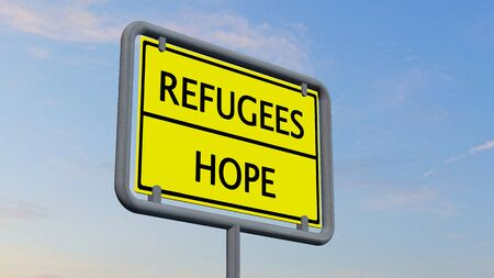 immigrant: Refugees Hope sign