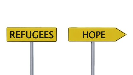 refugees: Refugees Hope Signpost isolated on white background