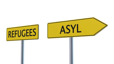 humane: Refugees Asylum Signpost isolated on white background