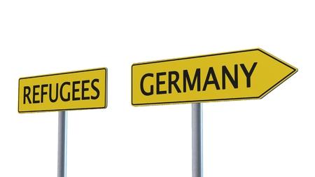 humane: Refugees Germany Signpost isolated on white background Stock Photo