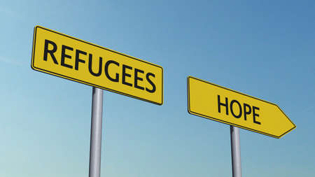 refugees: Refugees Hope Signpost Stock Photo