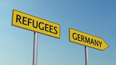 humane: Refugees Germany Signpost Stock Photo