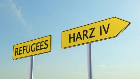 humane: Refugees Harz IV Signpost Stock Photo