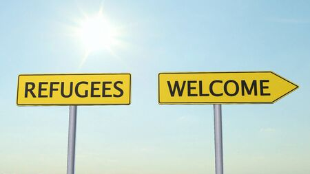 refugees: Refugees Welcome Signpost