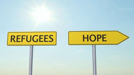 humane: Refugees Hope Signpost Stock Photo