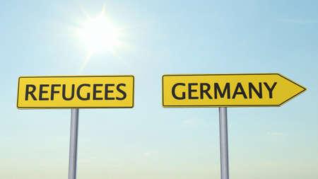 international crisis: Refugees Germany Signpost Stock Photo