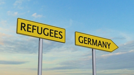immigrant: Refugees Germany Signpost Stock Photo
