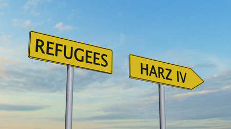 refugees: Refugees Harz IV Signpost Stock Photo