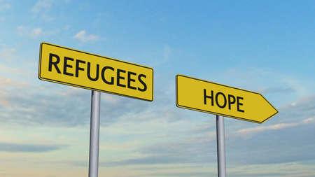 hope: Refugees Hope Signpost Stock Photo