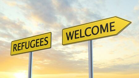 immigrant: Refugees Welcome Signpost
