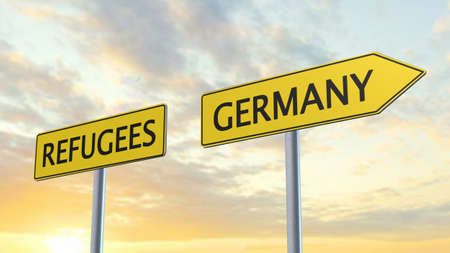 refugees: Refugees Germany Signpost Stock Photo