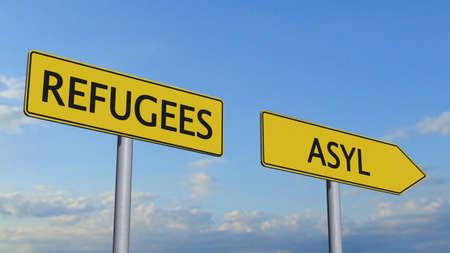 migrant: Refugees Asylum Signpost