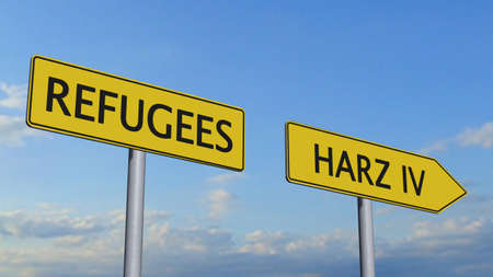 immigrant: Refugees Harz IV Signpost Stock Photo