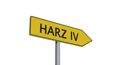 humane: Harz IV Signpost isolated on white background