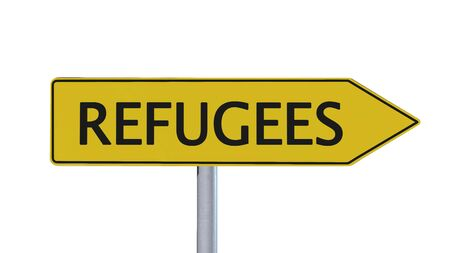 refugees: Refugees Signpost isolated on white background