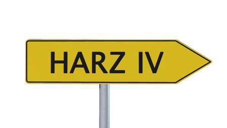 immigrant: Harz IV Signpost isolated on white background