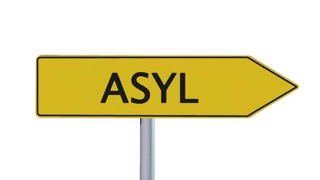 immigrant: Asylum Signpost isolated on white background Stock Photo