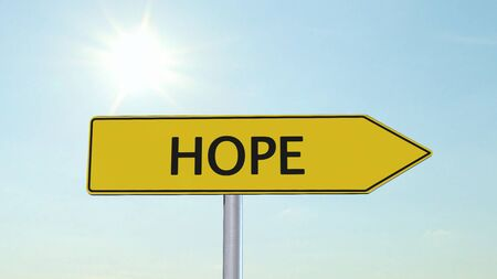 immigrant: Hope Signpost Stock Photo