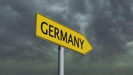 migrant: Germany Signpost Stock Photo