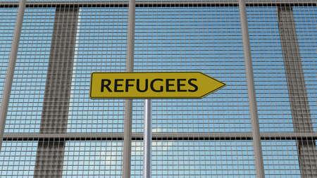 humane: Refugees signpost on metal fence border fence