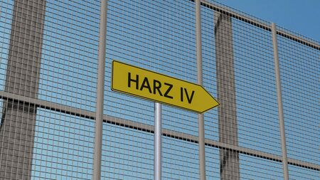 immigrant: Harz IV signpost on metal fence border fence