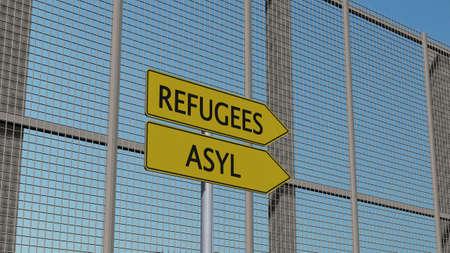 asylum: Refugees Asylum signpost on metal fence border fence