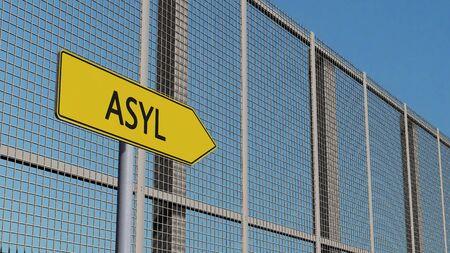 asylum: Asylum signpost on metal fence border fence