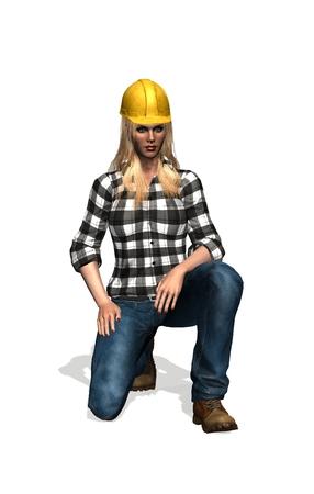 yellow helmet: construction worker with yellow helmet woman