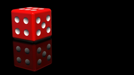 red dice: Red Dice - reflected on a black background Stock Photo