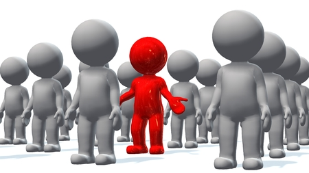 Standing out from the crowd - a red 3d people in a crowd of white 3d people