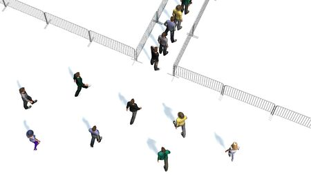 a crowd of people for metal barrier in top-view isolated on white background