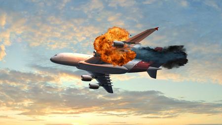 空の飛行で大爆発で乗客の飛行機