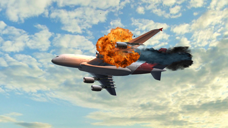 Passenger Airplane with a big explosion at the flight on the sky