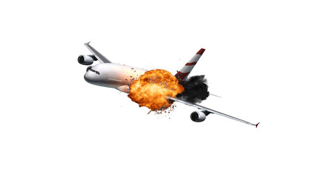 Passenger Airplane with a big explosion - isolated on white