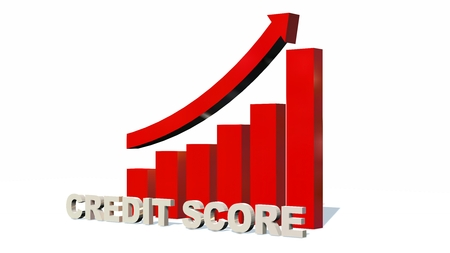 Credit Score Increasing bar graph - isolated on white background