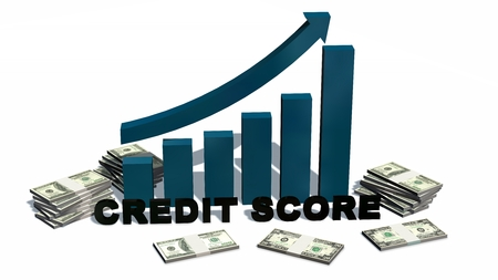 letterpress blocks: Credit Score Increasing bar graph with stack of 100 dollar bills - isolated on white Stock Photo
