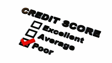 poor Credit Score Text  - isolated on white backgroun