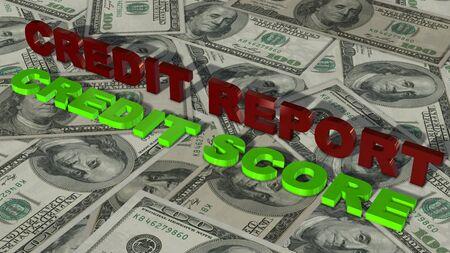 credit report: Credit Report  Score 3D lettering Text on 100 $ Bills