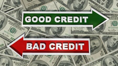 Good credit  Bad Credit signpost on 100 $ Bills Stock Photo