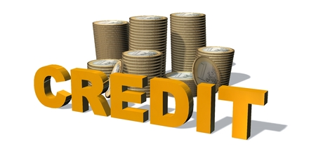 Credit 3d text word in front of stacks of euro coins -  isloated on white background
