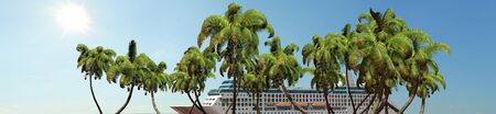 Cruise ship and palm trees in sunset Panorama