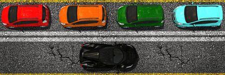 asphalt: compact cars on asphalt street top view
